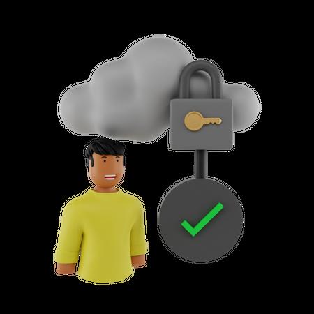 Check Cloud Security 3D Illustration