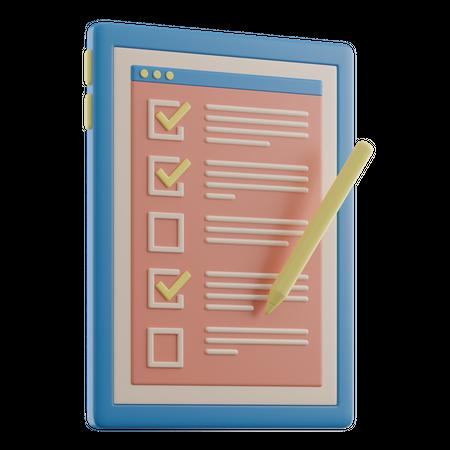 Checklist 3D Illustration