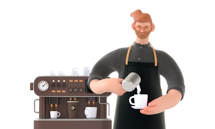 Chef making coffee 3D Illustration
