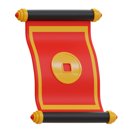 Chinese Scroll 3D Illustration