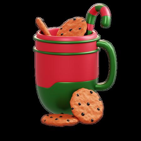 Christmas Mug And Cookie 3D Illustration
