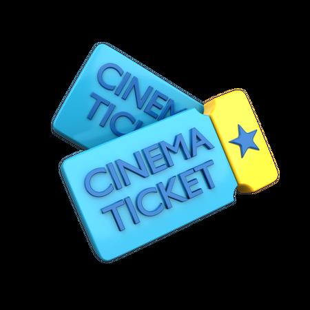 Cinema Ticket 3D Illustration