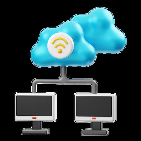 Cloud Computer Network 3D Illustration