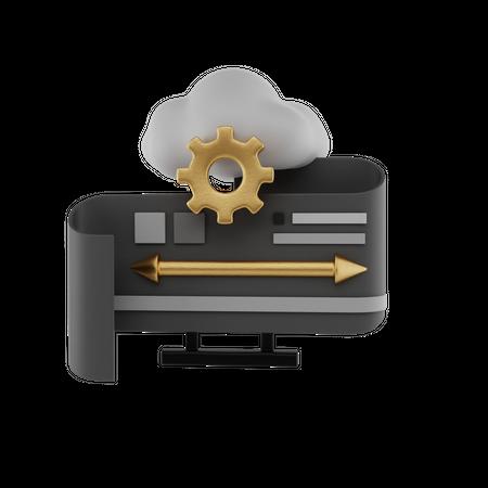 Cloud Data Flow 3D Illustration