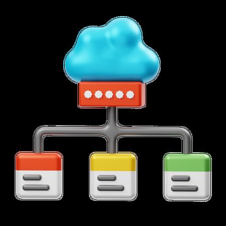 Cloud Data Password 3D Illustration