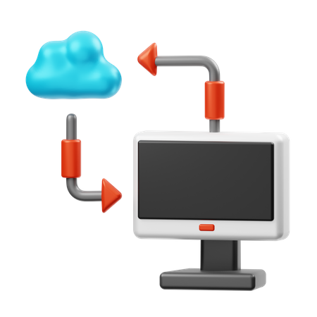 Cloud Data Transfer 3D Illustration