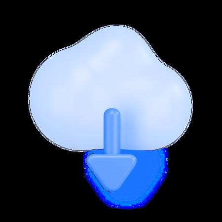 Cloud Download 3D Illustration