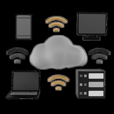 Cloud Internet 3D Illustration
