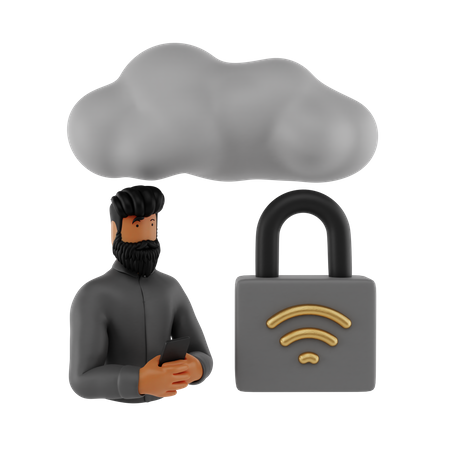 Cloud Security 3D Illustration
