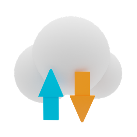Cloud Transfer Data 3D Illustration