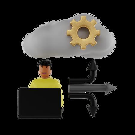 Cloud User 3D Illustration