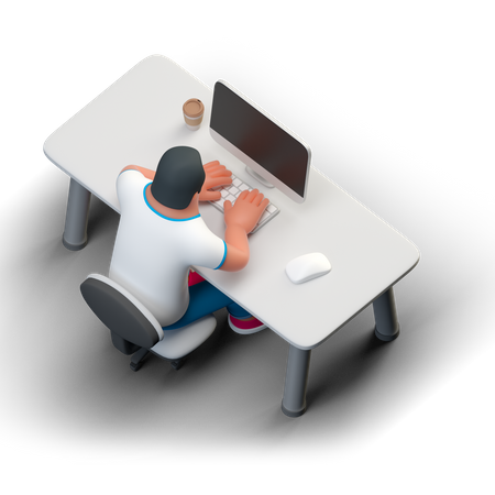 Coder desk 3D Illustration