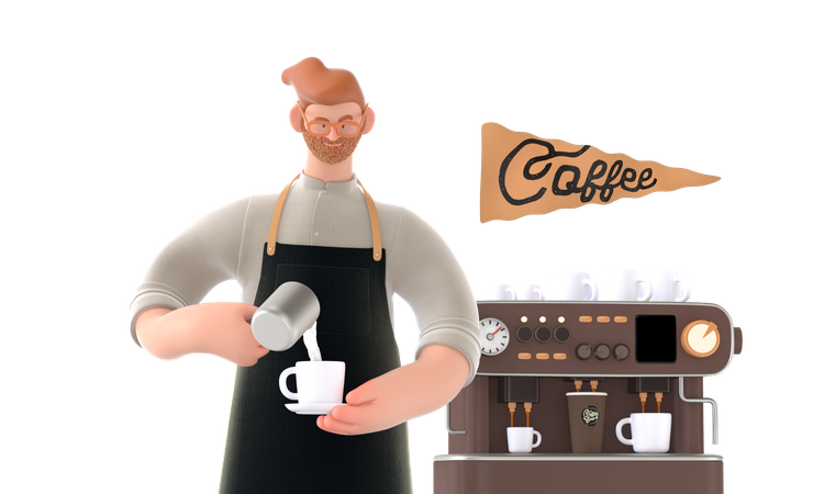 Coffee maker making coffee 3D Illustration