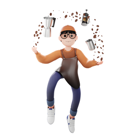 Coffee Man with coffee making materials 3D Illustration