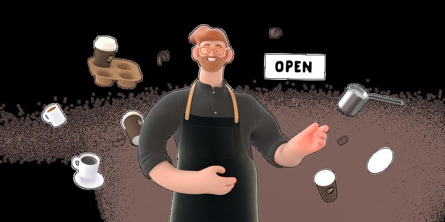 Coffee shop owner 3D Illustration