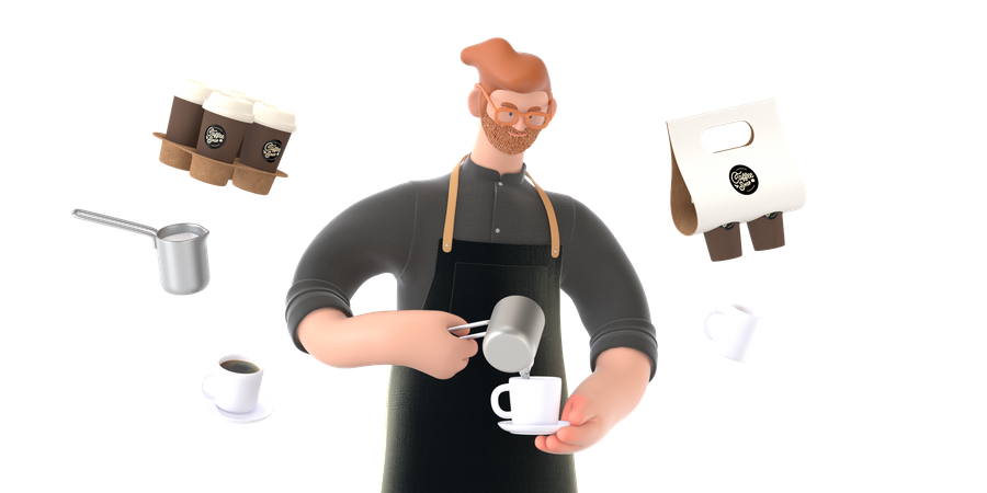 Coffee shop owner making coffee 3D Illustration