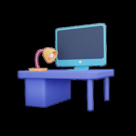 Computer Desk 3D Illustration