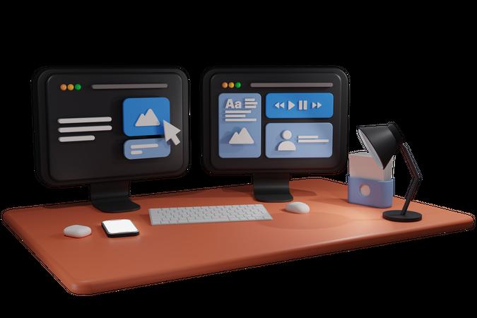 Computer Work desk 3D Illustration