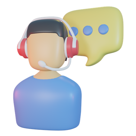Contact Support 3D Illustration