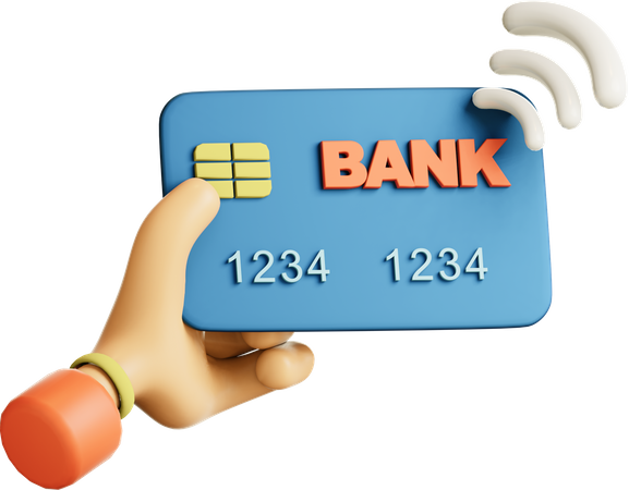 Contactless payment using credit card 3D Illustration