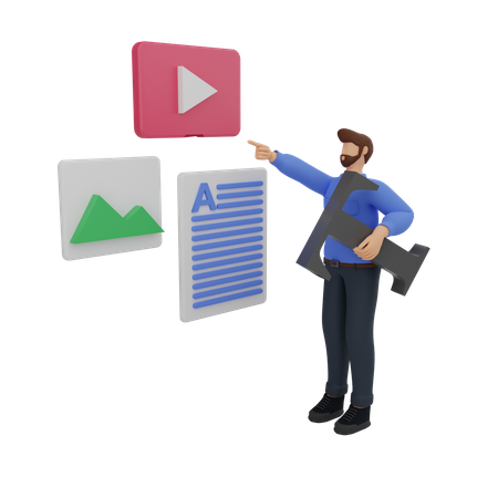 Content marketing with the man in blue 3D Illustration