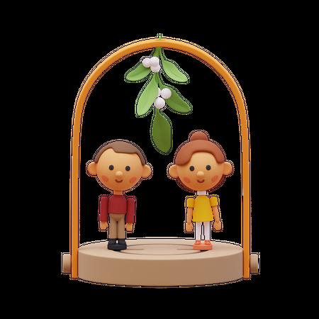 Couple under Mistletoe tree 3D Illustration