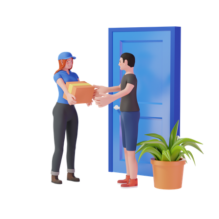 Courier girl delivering package to customer 3D Illustration