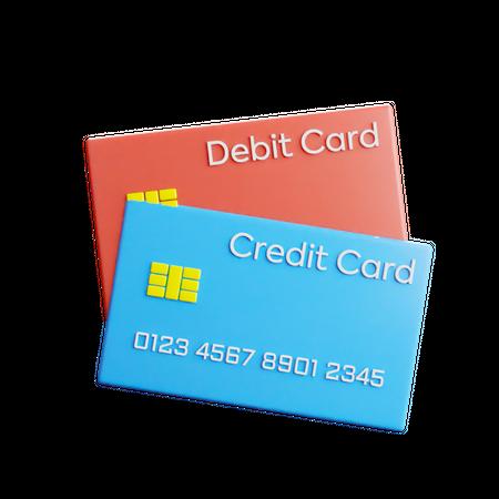 Credit and Debit Card 3D Illustration