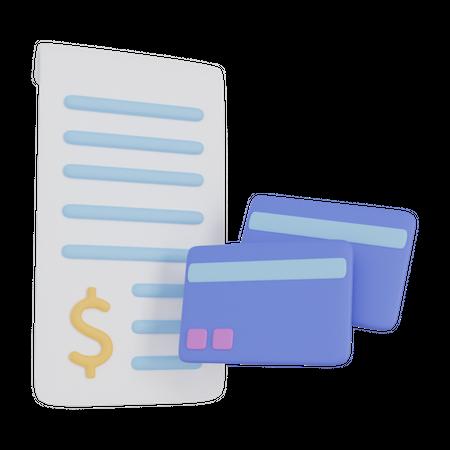 Credit Card Bill 3D Illustration