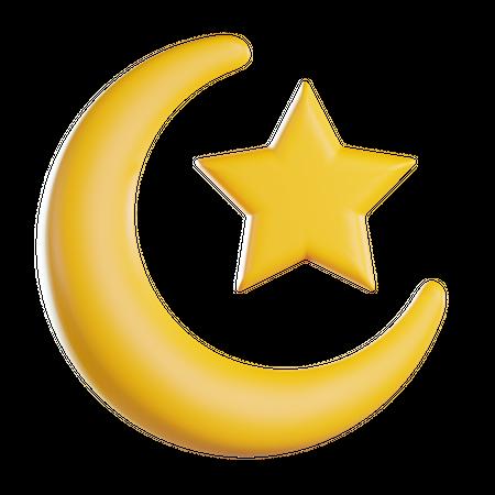 Crescent and Star 3D Illustration