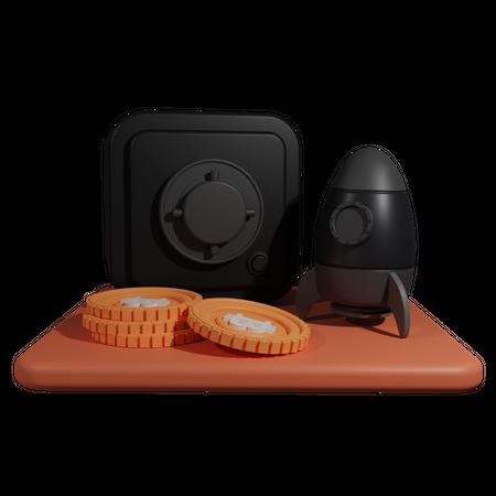 Crypto Locker With Rocket 3D Illustration
