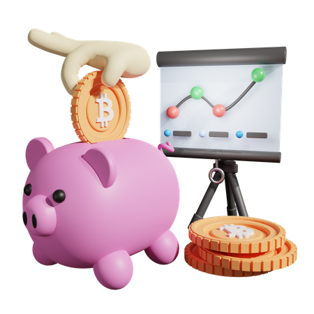 Crypto Piggy Bank Analysis 3D Illustration