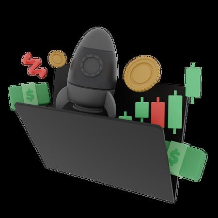 Crypto Stocks Growth 3D Illustration