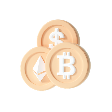 Cryptocurrency coin 3D Illustration