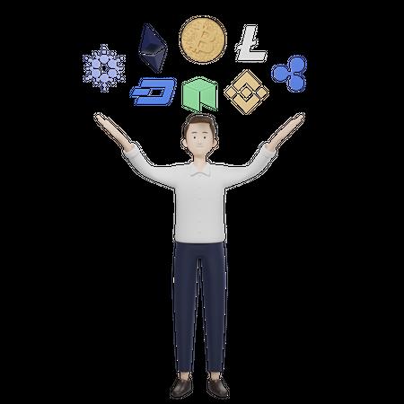 Cryptocurrency Investor 3D Illustration