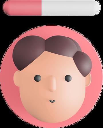 Curly hair avatar 3D Illustration