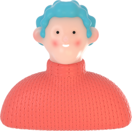 Curly small haired boy 3D Illustration