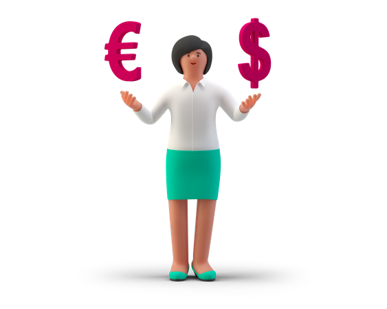 Currency exchange Agent 3D Illustration