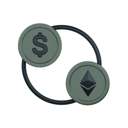 Currency to Cryptocurrecny convention 3D Illustration