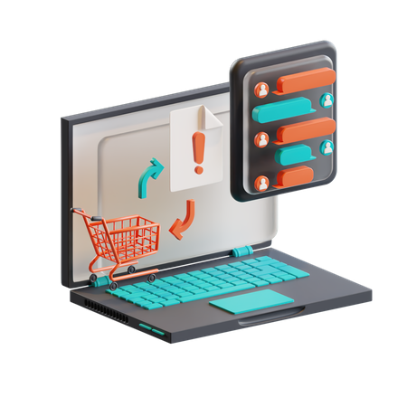 Customer query after error in cart 3D Illustration