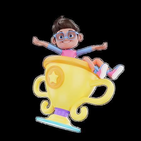 Cute Boy With Trophy 3D Illustration