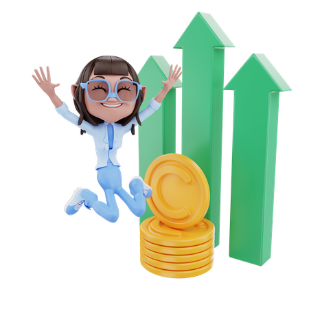 Cute Businesswoman Jumping With Profit 3D Illustration