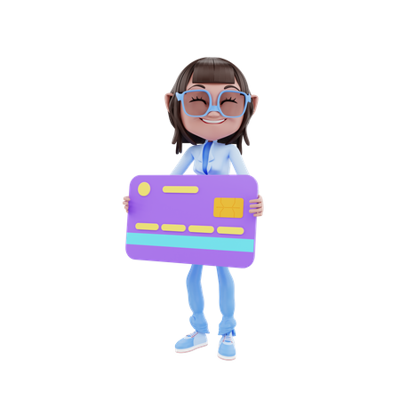 Cute Girl With Credit Card 3D Illustration