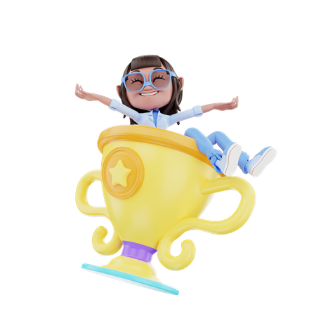 Cute Girl With Trophy 3D Illustration