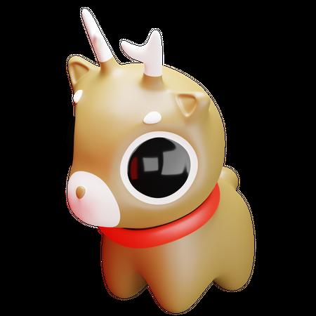 Cute Reindeer 3D Illustration