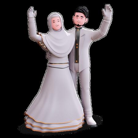 Dancing Wedding Couple 3D Illustration