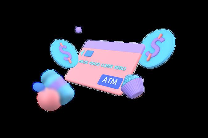 Debit card Payment 3D Illustration