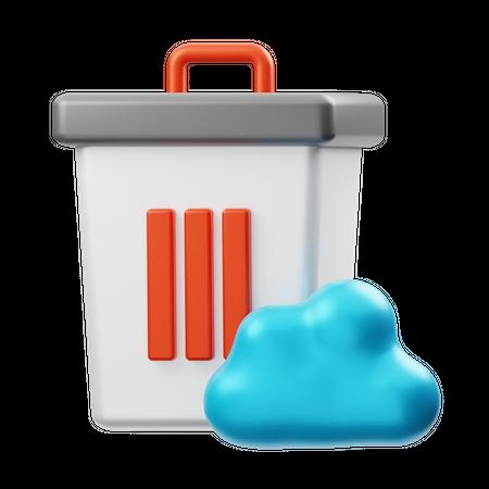 Delete Cloud Data 3D Illustration