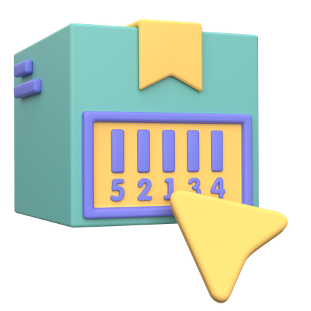 Delivery Box Barcode 3D Illustration