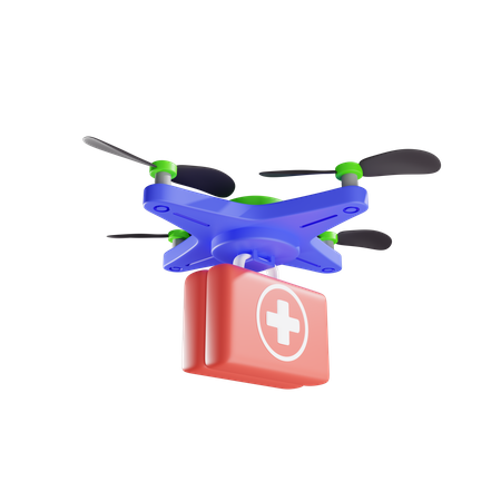Delivery By Drone Of First Aid Kit 3D Illustration